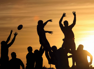 Rugby Players Jumping Silouette